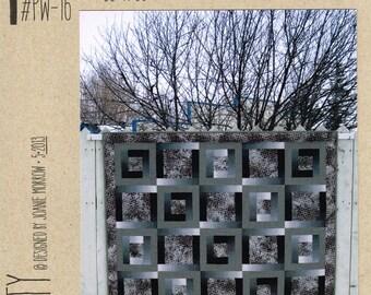 "Modern Quilt Pattern - Tranquility by Pattern Workz Design Studio - 66"" x 66"" - 3 Fabric Quilt"