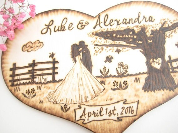 Wedding Gifts For Country Couple : ... Wedding gift for couple, Country wedding, Personalized wood heart
