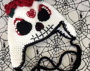 Sugar Skull Crochet Hat, Day of the Dead, Dia De Los Muertos, Halloween, Earflap Hat, Women's Hat, Costume Hat, Sugar Skull Costume, Beanie