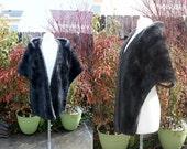 1960's Dark Brown FAux Fur Stole Capelet Shawl Wrap Shrug One Size Fits Many Vintage REtro 60's Vegan Bridal Wedding Prom Mid Century