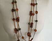 ON SALE Vintage 80s Chicos 3 Layered Brown Beaded Bohemian Neckace