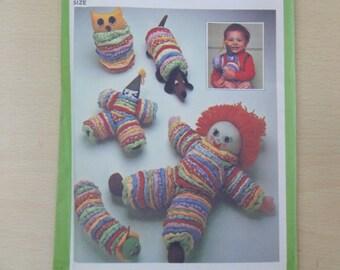 1977 Toy Package Stuffed Dolls, Baby Doll, Owl, Dog, Clown, Caterpillar- UNCUT Vintage 70's Simplicity Sewing Pattern 8225 Unused, Yoyo Doll