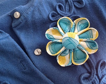 Turquoise and Yellow Flower Brooch - Floral Lapel Pin for Spring