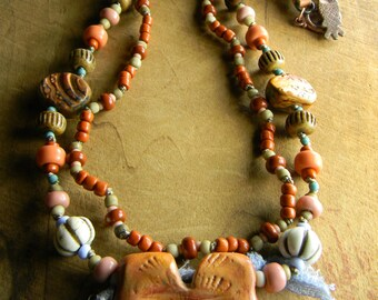 Southwestern Jewelry Pendant Necklace Copper Leather Orange Pink Terracotta Beaded