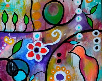 Folk Art Requiesence Abstract Zen Calm Whimsical Flowers Florals Original Painting