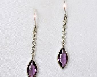 Royal Purple - Faceted Amethyst Marquise Cut Drop Sterling Silver Earrings