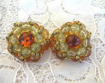 Vintage Large Cluster Earrings ~ Clip On ~ Root Beer & Crystal Beads