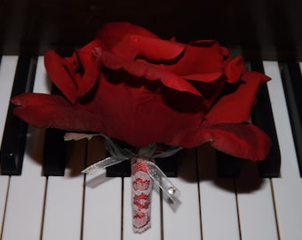 Winter vintage red rose boutonniere, choose your color rose