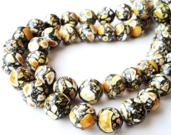 "Yellow Mosaic Beads - Round Gemstone Beads - Yellow Black Howlite - Natural Smooth Drilled Beads - 16"" Strand - 12mm - DIY Jewelry Project"