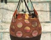 Handmade Brown  Orange, Brown and Navy Hobo