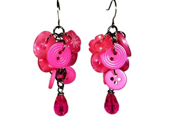Button Earrings, Hot Pink Earrings, Button Jewelry, Pink Dangle Earrings, Repurposed, Recycled, Upcycled Buttons