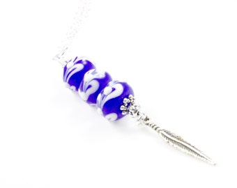 "Boho Lampwork Bead Necklace - Blue - Bead Necklace - 24"""