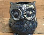 Made to order - Midnight Stone Blue Ceramic Owl Utensil Holder / Crock / Planter - Large - Dark Navy with Ocean Blue Accents