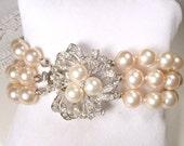 1930 Art Deco Multi Strand Pearl Bracelet Champagne Ivory Glass Pearl Bridal Bracelet, Ornate Silver Rhinestone Clasp Gatsby Vintage Wedding