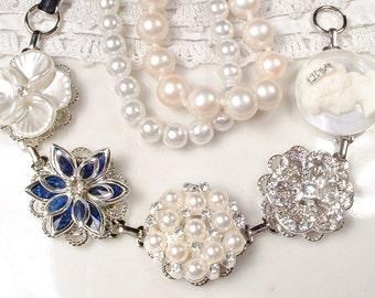 OOAK Navy Blue Rhinestone & Pearl Bridal Bracelet, Vintage Wedding Sapphire Crystal Earring Bracelet, Something Blue Old Bridesmaid Jewelry