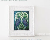 Peacock Painting Celtic Art Book of Kells Inspired Signed Print, Knotwork, Irish art, spiritual art, home decor, wall art
