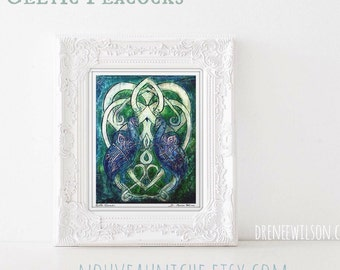 Peacock Artwork Celtic Art Book of Kells Print Knot Work Irish Art Spiritual Gift Peacock Decor Bird Nerd Gift Office Decor for Women