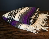 Vintage Small Mexican Blanket in Purple and White