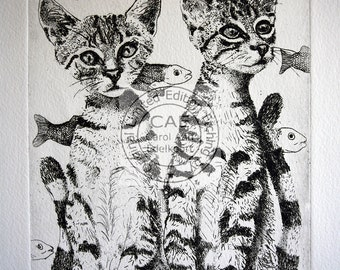 copperplate etching of 2 cats surrounded by fish titled 'Fish Cats'