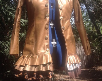 showdiva designs STUNNING Leather Military Coat  Asymmetrical Ruffles Hints of Gold