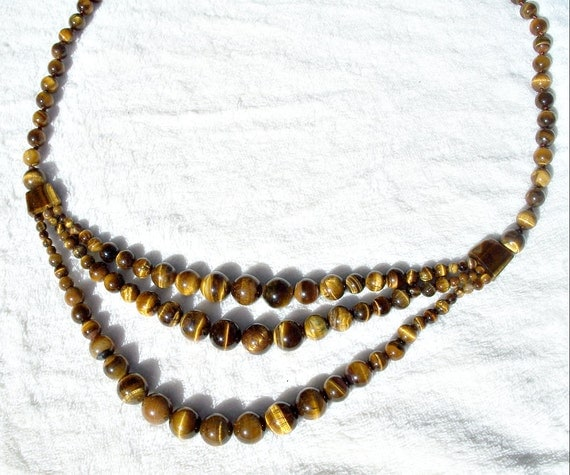 genuine tiger s eye bead necklace multi strand draped