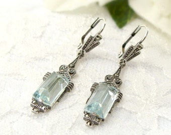 Vintage marcasite earrings with paste aquamarine in Art-Deco style || МАРКАЗИТ 433