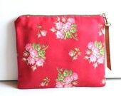 Red Cotton Wristlet, Clutch, Cosmetic Bag, Essentials bag with a Gold Clip and Vegan Leather Brown Pull FREE SHIPPING