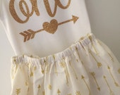 One Birthday Outfit; baby girl gold and white 'one' outfit; onesie and skirt for first birthday