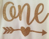 One Onesie with arrow and heart in gold glitter; first birthday onesie, Baby's First birthday, birthday onesie