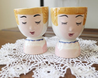 Vintage Egg Cups Set of Two Girl Faces Cute Kitsch 50s Kitchen Decor