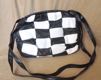 END of SUMMER SALE Vroom... Vintage 80's Shoulder Bag,  Black and White Checkered, Leather, Race, Nascar