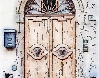 Printable Art, Instant Download, DIY Print At Home, Art Print, Watercolor, Tuscany, Italy, Old Door, Ocher, Blue,