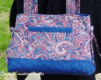 Quilted Handbag, Purse, Bag, Tote Bag, Bow  Bag The Adrea Bag Custom Made  by Quilted Creations By Me