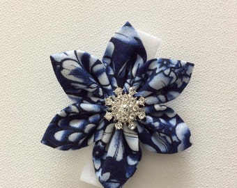 Blue and White Dog Collar Flower with Rhinestone- Ready to Ship