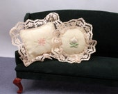 Dollhouse Decorative Pillows Vintage Handmade Lace Trimmed Floral Center Pastel