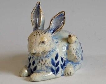 Blue Bunny with Bird  - little sculpture