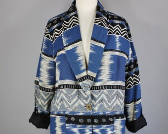 Vintage 80s Women's Tribal Navajo Southwest Afropunk Blue Gray Spring Fall Wear to Work Street Style Casual Blazer Jacket