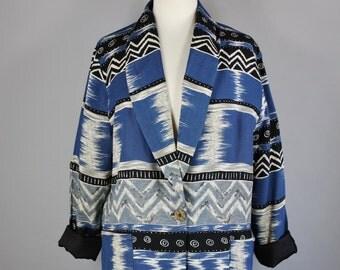 80s Tribal Jacket, Women's Navajo Print Jacket, Southwest, Blue Gray, Street Style Casual Blazer Jacket, Vintage, Size Large, FREE SHIPPING