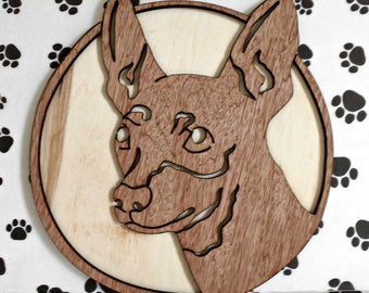 MinPin Handmade Fretwork Wood Dog Art Breed Portrait