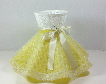 PLASTIC LAMP SHADE, 1950's, Lemon Yellow, Molded Ruffled Shape, Eyelet Cover, Clip-On, Vintage Bedroom, Nursery, Lighting Decor