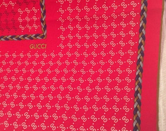 Rich Red Floating G with Bridle Vintage GUCCI Silk Scarf