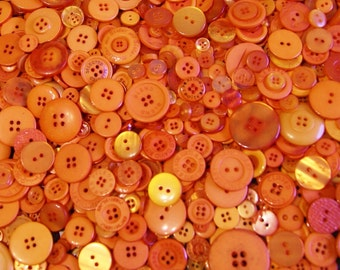 50 Orange Buttons, Deep Orange Buttons, Assorted sizes, Crafting Buttons (1536)