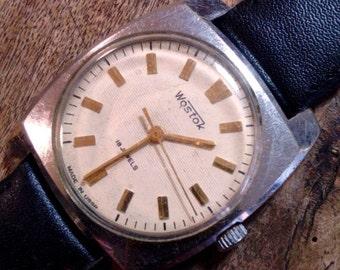 25 OFF SALE Vintage wrist watch Vostok mens watch men watch mens watch white watch, classic watch, mechanical watch