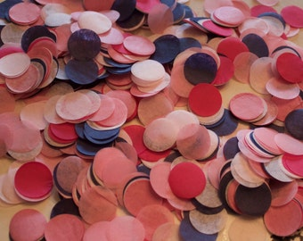 """Navy and Pink Tissue Confetti 3/4"""" Circles"""