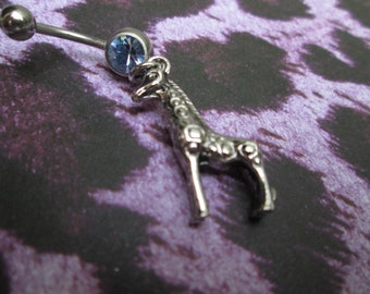 wild animal giraffe belly button ring, belly jewelry