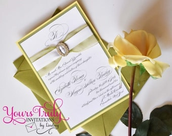 Sample - Shimmer Soft Yellow and Sage Green Elegant Calligraphy Wedding Invitation or Custom Shower Invitation in your colors