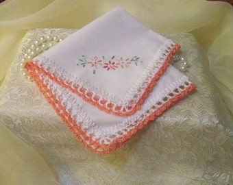 Embroidered ladies Handkerchief, Hanky, Hankie, Peach, Coral, Floral, Personalized, Monogrammed, Hand Crochet, Hand Embroidered, Ships Quick