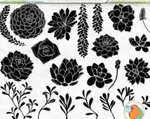 SALE - Succulent ClipArt Silhouettes + Photoshop Brush, Hens & Chicks, Plant Clip Art, Wedding Invitation DIY Printable Digital Stamps