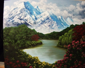 Mountains, Lake, Flowers, Water, Spring, Summer, Tree, Clouds, New Zealand, Original Landscape Oil Painting