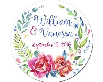 Custom Wedding Labels Personalized Flower Laurel Wreath Florence Bouquet Watercolor Florals Round Glossy Designer Stickers - Quantity 100